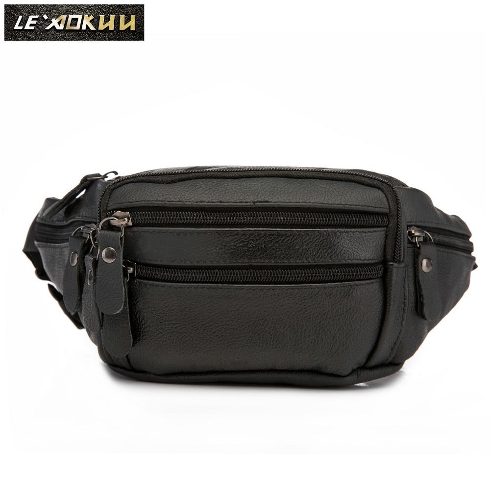 268d20231725 Genuine Leather men Casual Fashion Travel Waist Belt Bag Chest Pack Sling  Bag Design Bum Phone Cigarette Case Pouch Male 004b