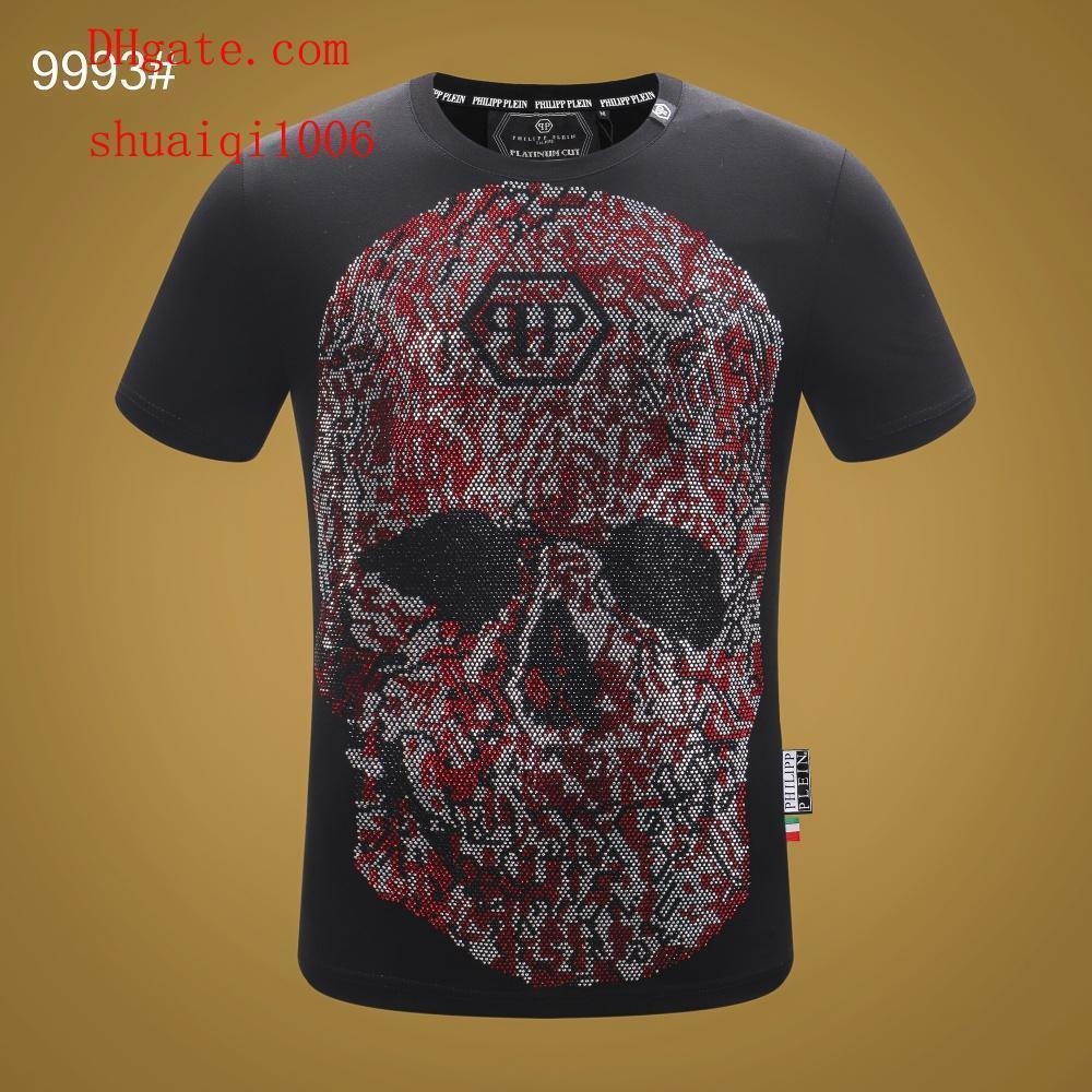 2019Mens T Shirts Skull Fashion Printing Anti-Shrink Quick Dry Mens Clothing High Quality Print T Shirt