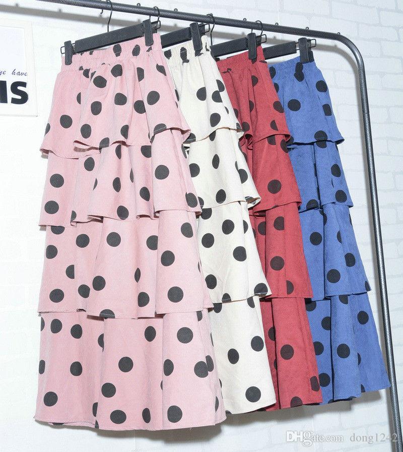 7e628b39b Falda plisada con estampado de lunares para mujer Falda de talle alto y  falda larga Falda escolar femenina