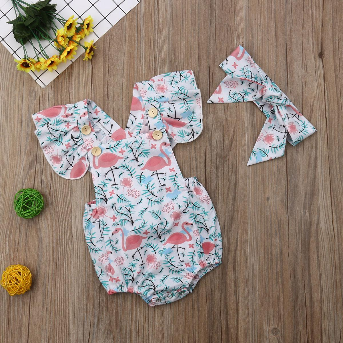 Focusnorm 0-24M New Fashion Newborn Baby Girls Flamingos Romper Cartoon Square Collar Headband Summer Outfits Clothes