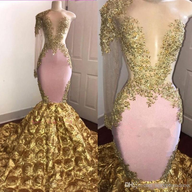 cefa97a43960d Pink And Gold Mermaid Prom Dresses Sexy One Shoulder Sheer Long Sleeves  Evening Gowns 3D Rose Sweep Train Cocktail Formal Party Dress 80s Prom  Dresses Aqua ...
