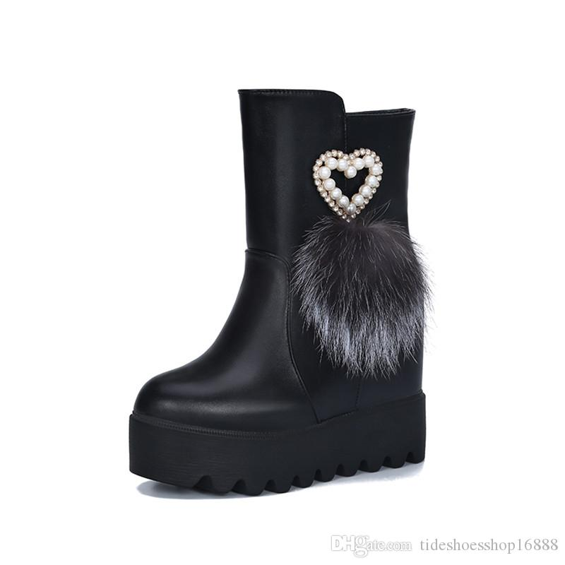 Compre Plataforma Botas De Cuña Para Mujer Botines De Tacón Alto Botas 2019  Primavera Otoño Mujer Altura Inferior Gruesa Zapatos Para Aumentar Zapatos  De ... 87ba872a0205