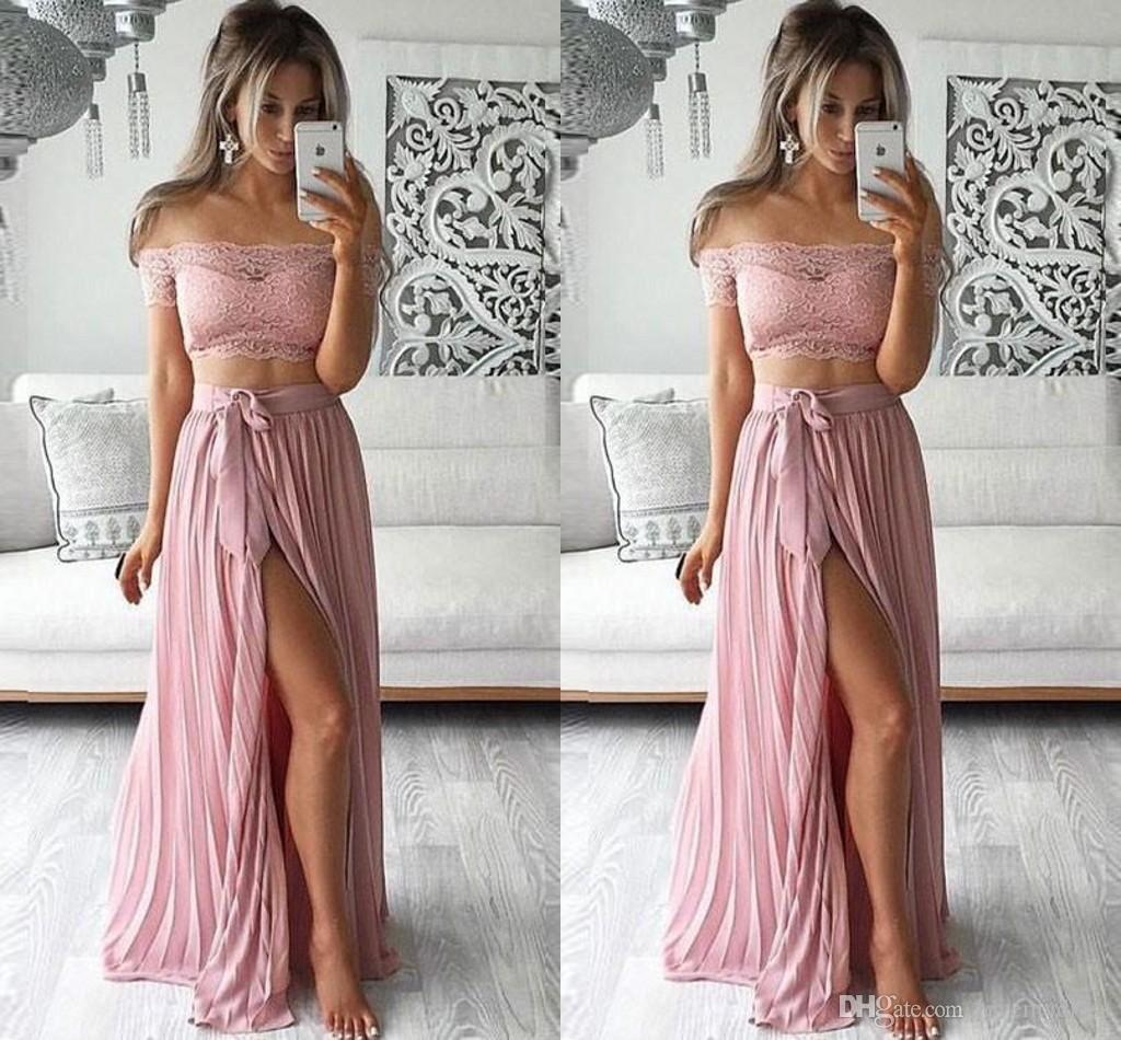 6f879aad0084 Blush Pink Side Split Prom Dresses Long Pleats Draped Off The Shoulder  Chiffon Long Party Formal Dress Evening Gowns Robes 2019 Short White Prom  Dresses ...