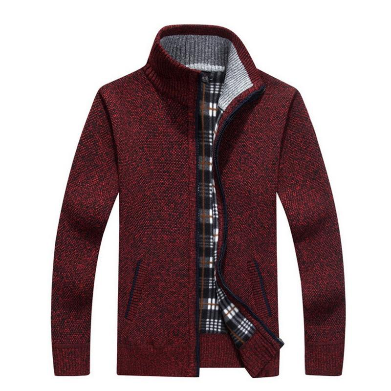 2019 Spring Winter Men's Sweater Coat Faux Fur Wool Sweater Jackets Men Zipper Knitted Thick Coat Casual Knitwear M-3XL