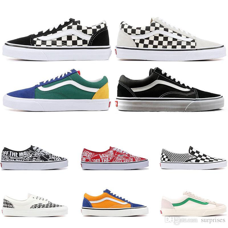2019 Designer Original old skool MIx Checker OTW REPEAT FEAR OF GOD CHECKERBOARD canvas mens sport sneakers fashion casual shoes size 36-44
