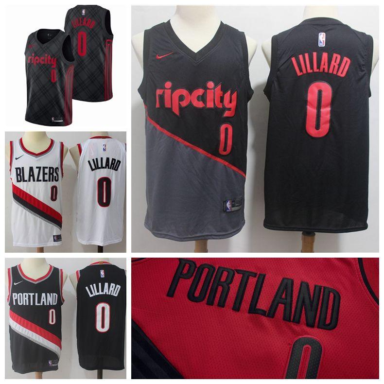 6e7f73e6f 2019 New The City Jerseys Trail Blazers 0 Lillard Jerseys Stitched Mens Rip  City Trail Blazers Lillard Basketball Jerseys Red Black White Online Shirts  ...