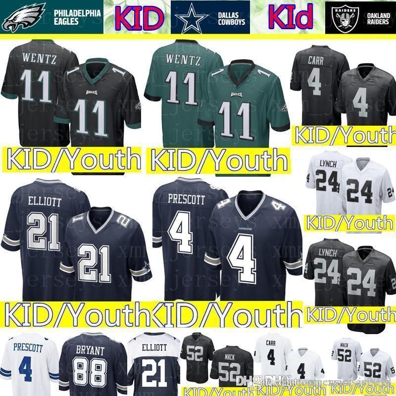 the latest c09aa 8e8f5 Kid 11 Carson Wentz Philadelphia Eagles Jersey Youth 4 Dak Prescott 21  Ezekiel Elliott Dallas Cowboys KID Raiders 4 Derek Carr 24 Lynch