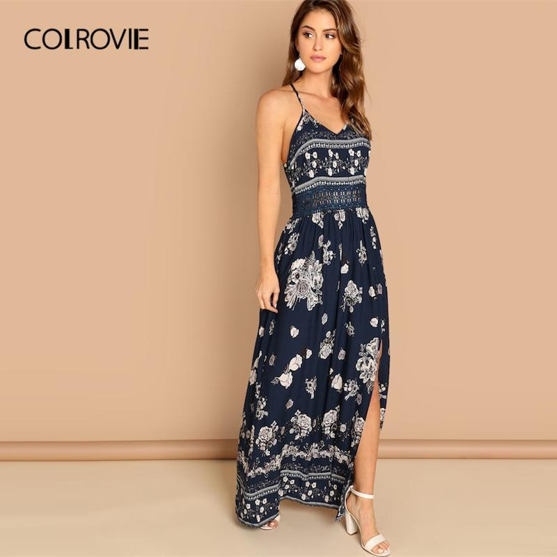 a952236fca8d6 COLROVIE Navy V-Neck Floral Print Lace Waist Split Front Cami Dress 2018  Long Sleeve Sexy Party Dress Ladies Elegant Long