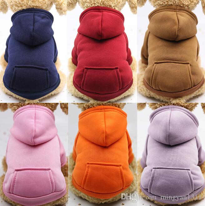 Dog Hoodies Pet Dogs Clothes Warm Puppy Apparel Small Dog Costume Coat Outfits Pocket Sport Styles Sweater Pets Supplies XS- XXL