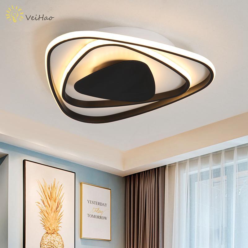 Acheter Triangle Noir / Blanc Moderne LED Lustre Salon Étude Chambre Cuisine  Décoration Intérieur Plafond Lustre Éclairage De $129.61 Du Goddard |  DHgate.