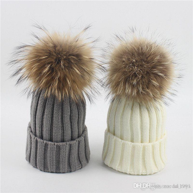 Baby Hats Real 15cm Raccoon Fur Hats For Baby Boys And Girls Children/'s Winter