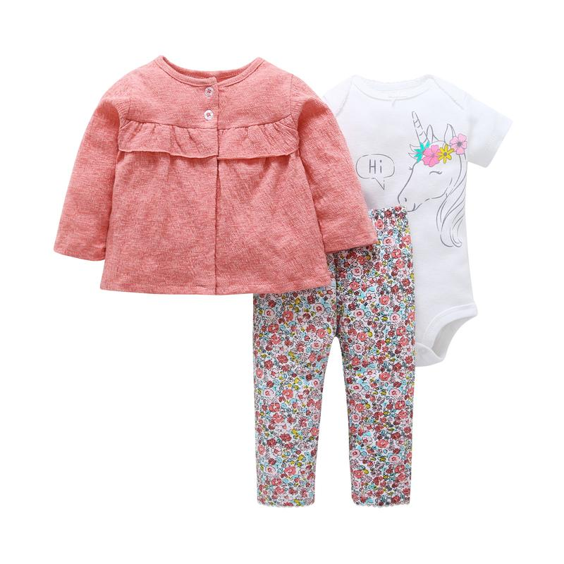 f84ea43187577 Newborn Baby Girl Clothing Set Cotton Long Sleeve Coat Tops rompers Unicorn  pant Floral 3 Piece Outfits Infant Baby Clothes Set J190427