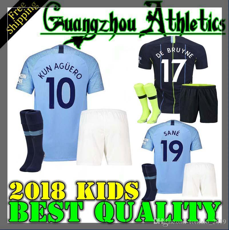 ae3d361f9c9 2019 18 19 Sane Soccer Jerseys 2018 2019 Man City Kids Kit DZEKO KUN AGUERO  KOMPANY TOURE YAYA DE BRUYNE Home Kids Shirt From Tomato 2019