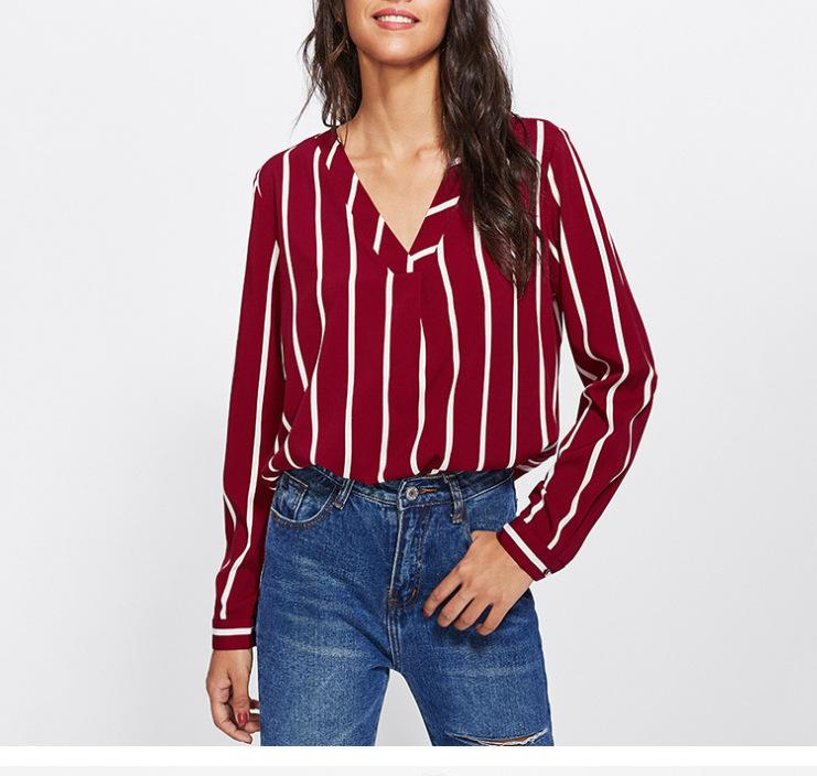 4be9787ccf Women Blouses 2018 Polka Striped Print Long Sleeve V-Neck Women Shirts  Ladies Blouses Tunique Femme Female Blusas Online with $22.85/Piece on ...