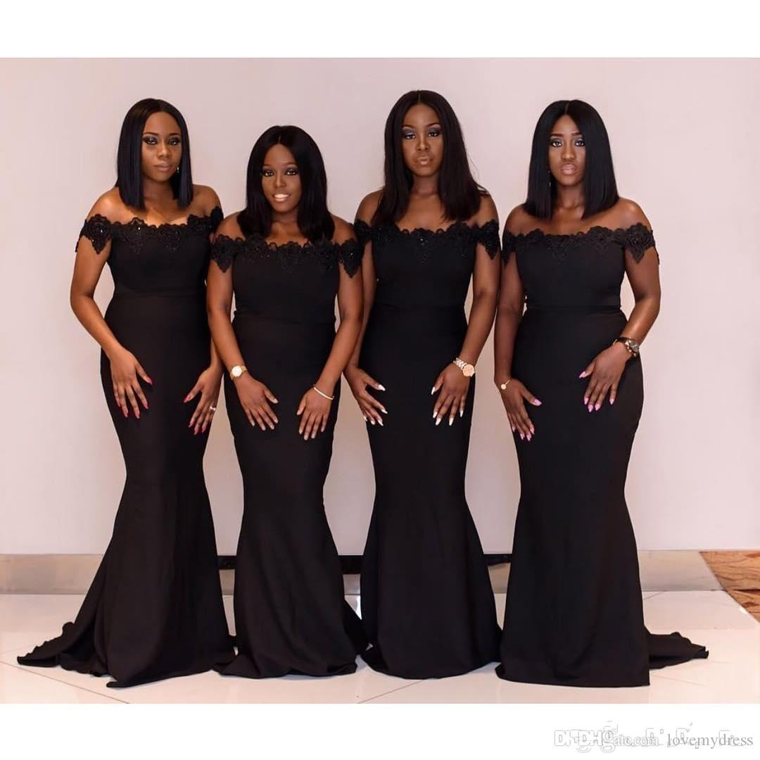 Saudi African Black Girls Mermaid Prom Bridesmaids Dresses Long 2020 Off The Shoulder Flowers Lace Maid of Honor Dress Evening Gowns Party