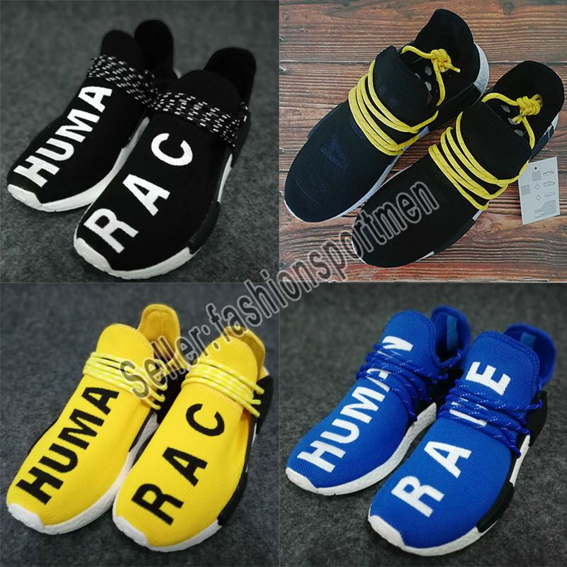 wholesale dealer 0ff00 59fe9 2019 NMD Human Race Mens Running Shoes With Box Pharrell Williams Sample  Yellow Core Black Sport Designer Shoes Women Sneakers