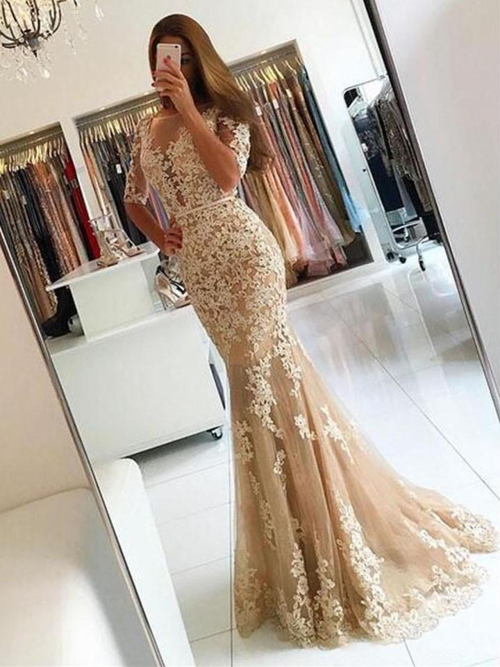 6b8540a2e50cc 2018 Champagne Tulle Vintage Mermaid Prom Party Dresses With Short Sleeve  Robe Longue Femme Soiree Backless Long Evening Celebrity Gowns Senior Prom  Dresses ...
