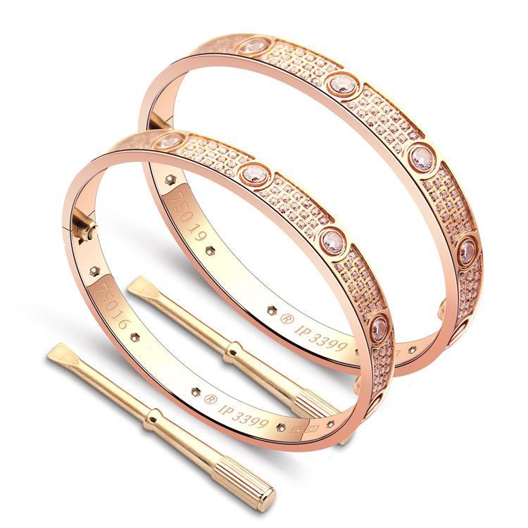 5f8194a23fdf Amor pulseras oro rosa / oro / plata pareja brangles para las mujeres de  acero de titanio de lujo diez cristal CZ par pulseras joyería de la boda