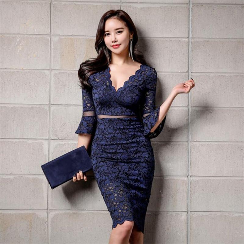7bac656ef9828 Spring Korea Women Clothes Sexy Party Dress Women Deep V-Neck Lace Bodycon  Blue Dresses Package Hip Dress Vestidos Verano 2018