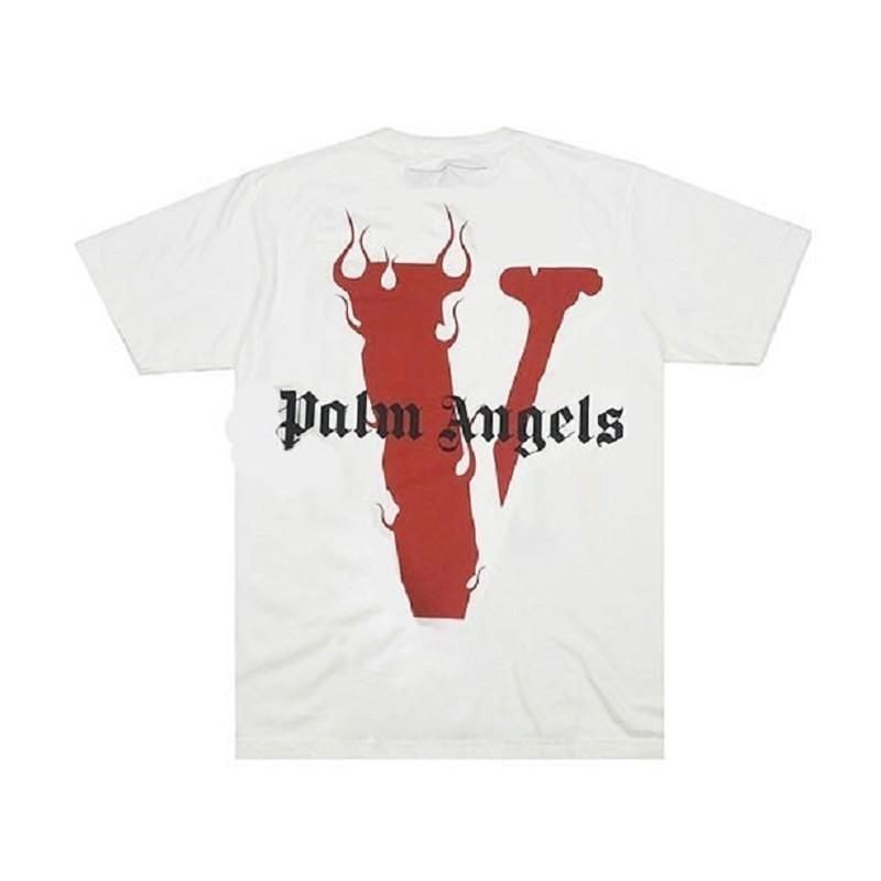 Compre 19SS VLONE X PALM ANGELS Miami POP Limited Flame T Shirt Summer  Casual Transpirable Manga Corta Hip Hop Street Skateboard Tee HFYMTX430 A   17.87 Del ... 9d3e5b62c6152
