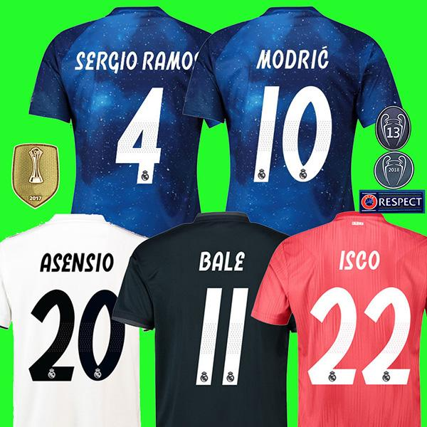huge selection of d1feb f4312 S-3XL New 2019 Real Madrid 4th EA Sports Soccer Jerseys 18/19 Home MODRIC  MARCELO 3rd VINICIUS JR KROOS ISCO ASENSIO BALE Football Shirts