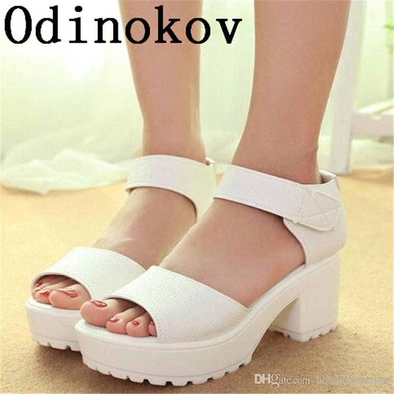 Fashion Women Summer Shoes White Black Platform Soft PU Sandals Women's High-Heeled Shoes Thick Heel Sandals Flip Flop #10234