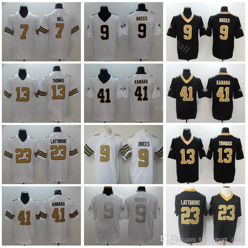 premium selection c82e0 78199 New Orleans Football Saints 9 Drew Brees 13 Michael Thomas Jersey Men 7  Taysom Hill 41 Alvin Kamara 23 Marshon Lattimore Black White