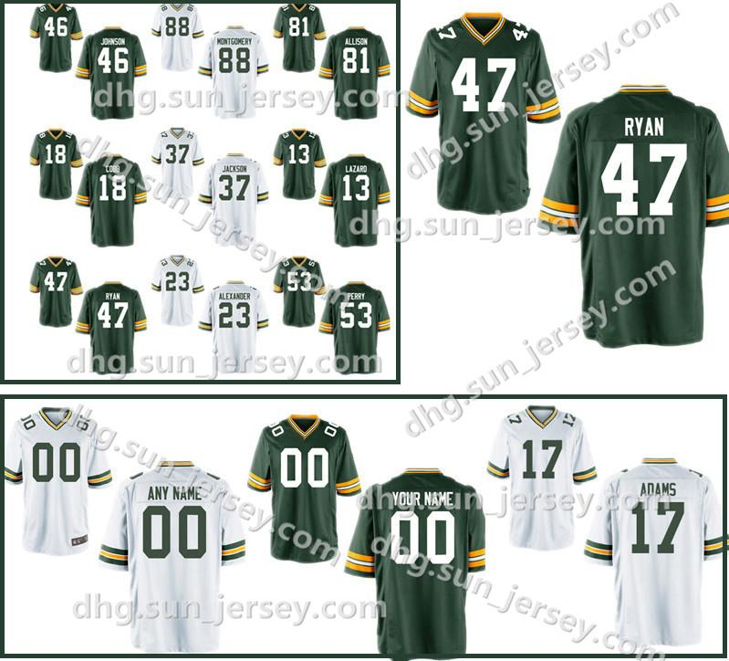 competitive price 8ca37 a0843 Custom Game Mens 4 Brett Favre Jersey Packer 7 Brett Hundley 23 Damarious  Randall 90 BJ Raji Jerseys