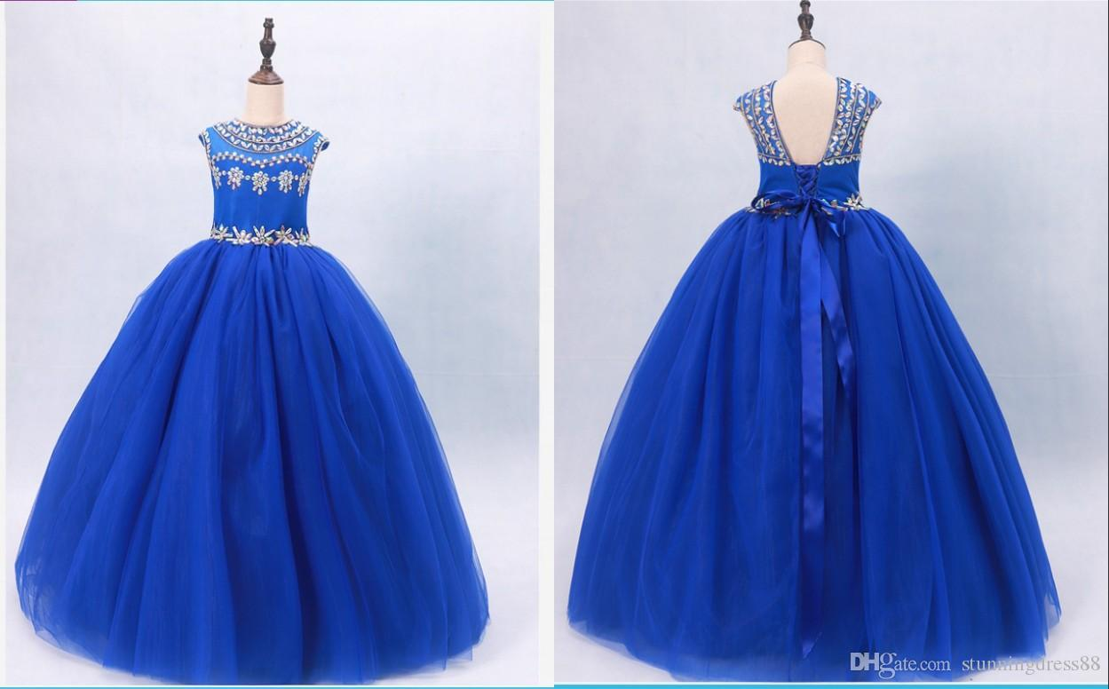 Real Photo Royal Blue Pageant Dresses 2019 Sparkly Rhinestones Ball Gown Tulle Backless Long First Communion Prom Formal Dress For Kids