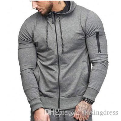 085eaa87 2018 Explosion Men's Slim Sports Bottomless Hatless Cardigan Sweater ...