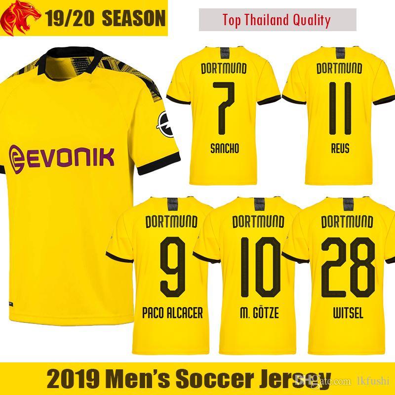 check out 676bb 80a16 19 20 Borussia Dortmund soccer jerseys SANCHO Football Shirt REUS Jersey  2018 2019 PACO ALCACER GOTZE Dortmund KAGAWA WITSEL Soccer Shirt