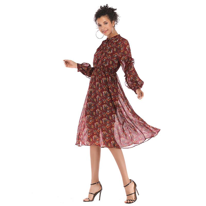 c1808ccd4a3 2019 Spring New Women s Fashion European and American Small Floral Chiffon Dress  Long Long Sleeve Large Swing Skirt