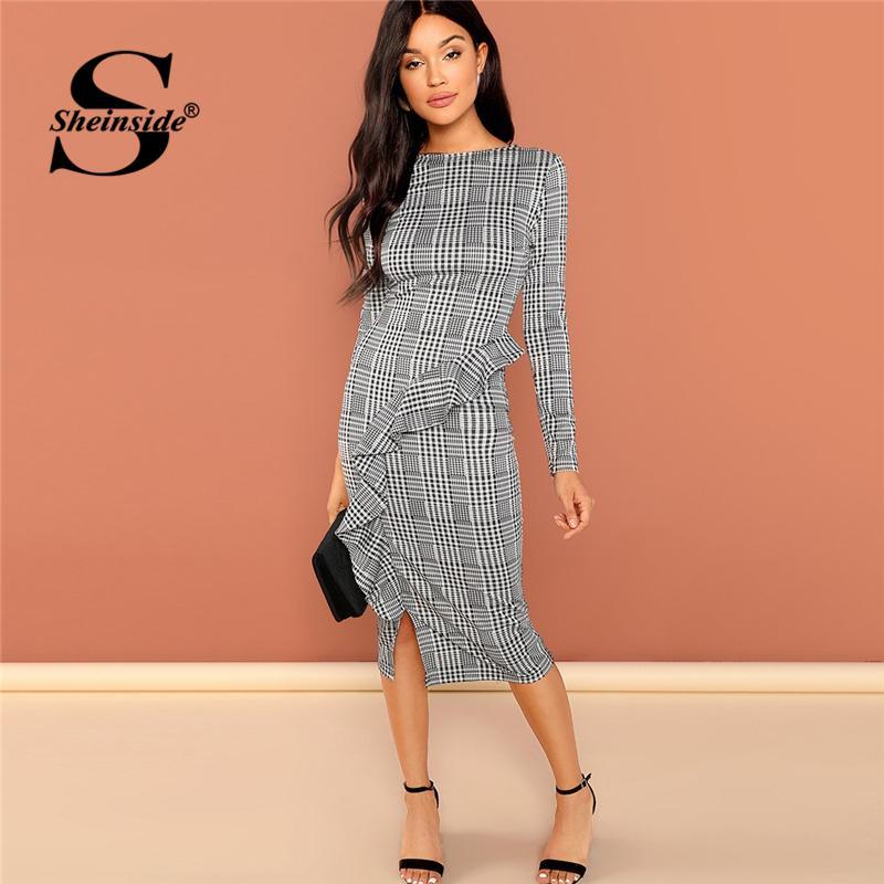 f61f4644d3 Sheinside Black And White Office Ruffle Detail Split Plaid Dress ...