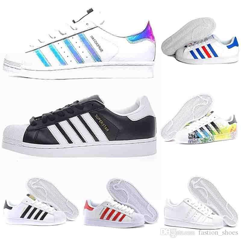 Großen Rbatt adidas Superstar Damen Sneakers WeißGrün