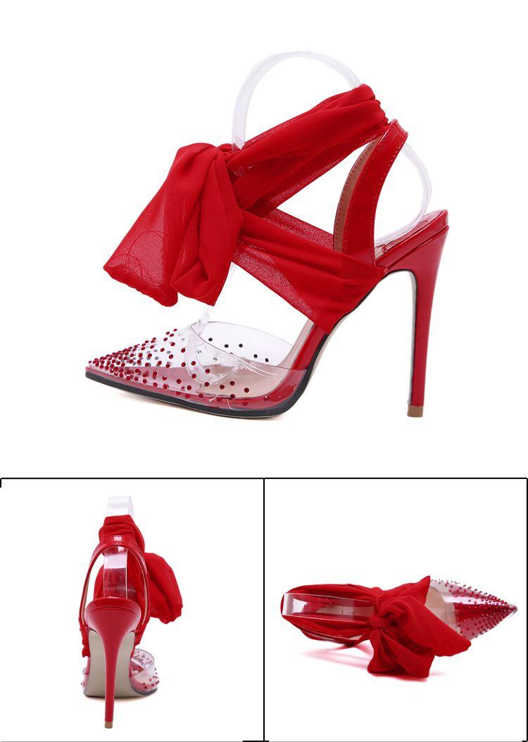 2019 white chiffon ankle wrap rhinestone pointed toe pumps high heels fashion luxury women wedding shoes size 35 to 40