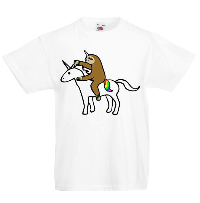 6a00f81c7d2f Sloth Riding Unicorn Kid's T-Shirt Children Boys Girls Top Funny Animal Pic  Short Sleeve Plus Size T-shirt Style Round Style tshirt