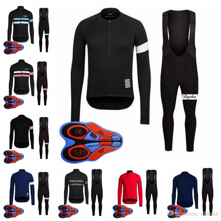 RAPHA team Cycling long Sleeves jersey bib pants sets spring autumn men long sleeve bib pants quick dry sports jersey sets S82341