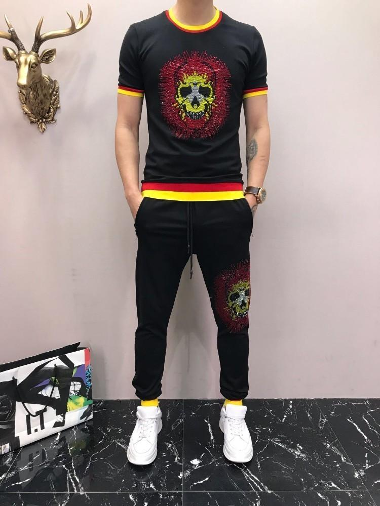 2019 New Pattern Man Tracksuit Lapel And Short 100 Sleeve Motion Trousers Korean Edition Embroidery Leisure Sports Suit