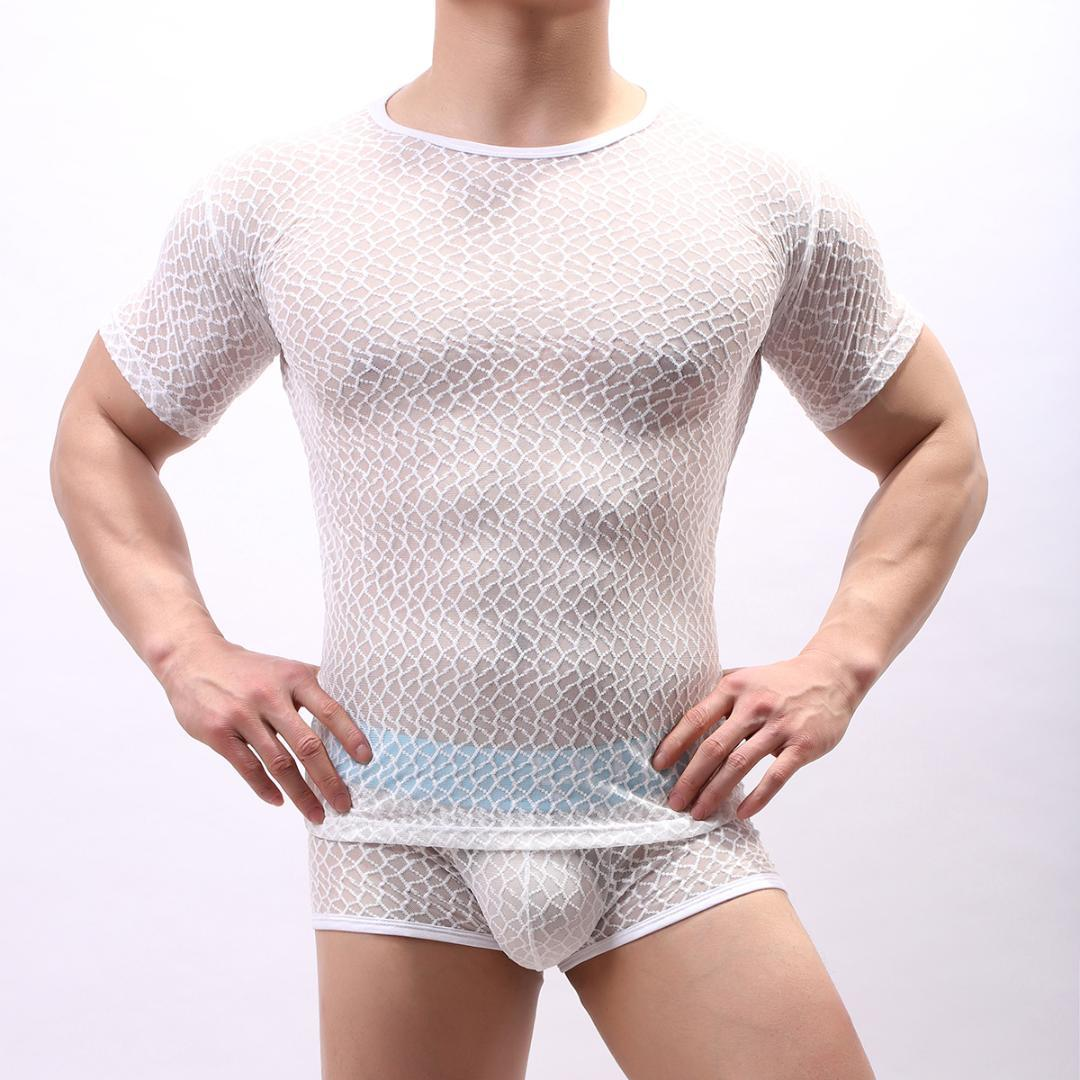 Men's Mesh See-through Fishnet T Shirt Fashion Sexy Short Sleeve Nightclub Wear T-shirt Men Party Perform Streetwear Tops