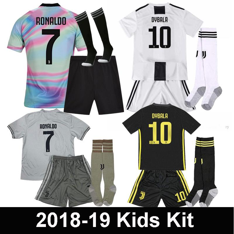 best service c0127 35e48 2018 2019 Juventus EA Sports Kids Kit soccer jersey RONALDO DYBALA full Set  18 19 juve BONUCCI MANDZUKIC child Football uniforms