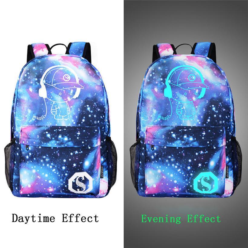 9d8652a7a6 Luminous Backpack Men Galaxy Canvas Backpacks Boys Cartoon Printing School  Bags For Teenage Girls Travel Bag Escolar One Strap Backpack Backpacking ...