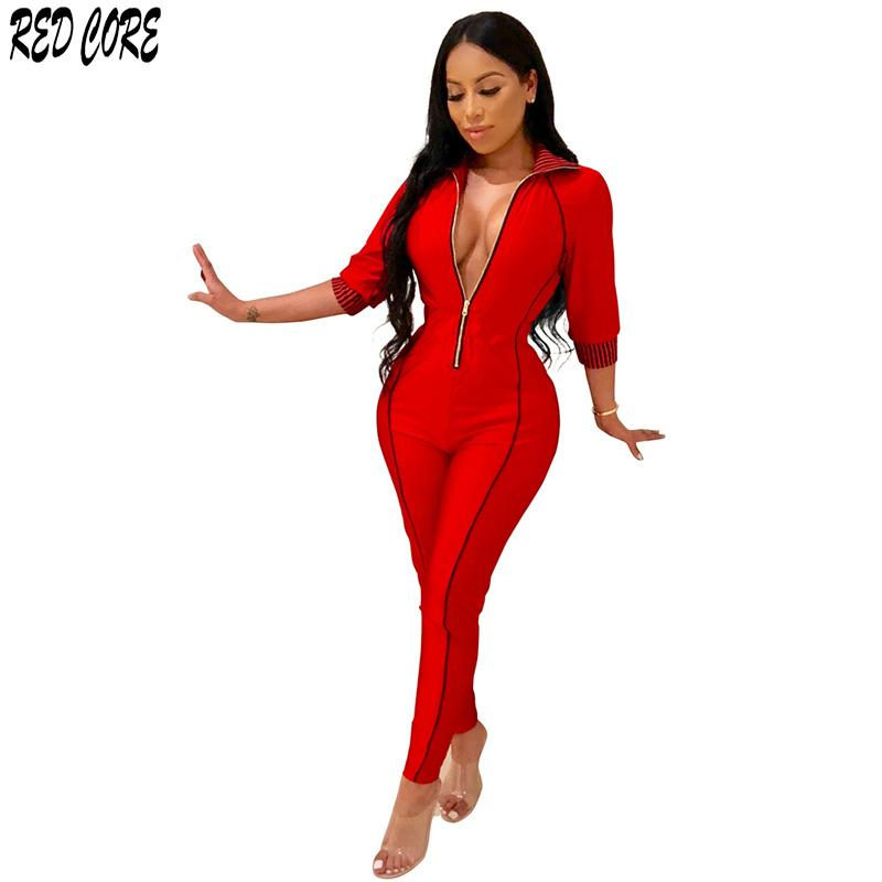 0d7642afb2 2019 REDCORE Striped Bodysuit Rompers Womens Jumpsuit Ladies Jumpsuits 2019  Spring Sexy Deep V Women Ladies Playsuits S XXL LTK038 From Cutelove66