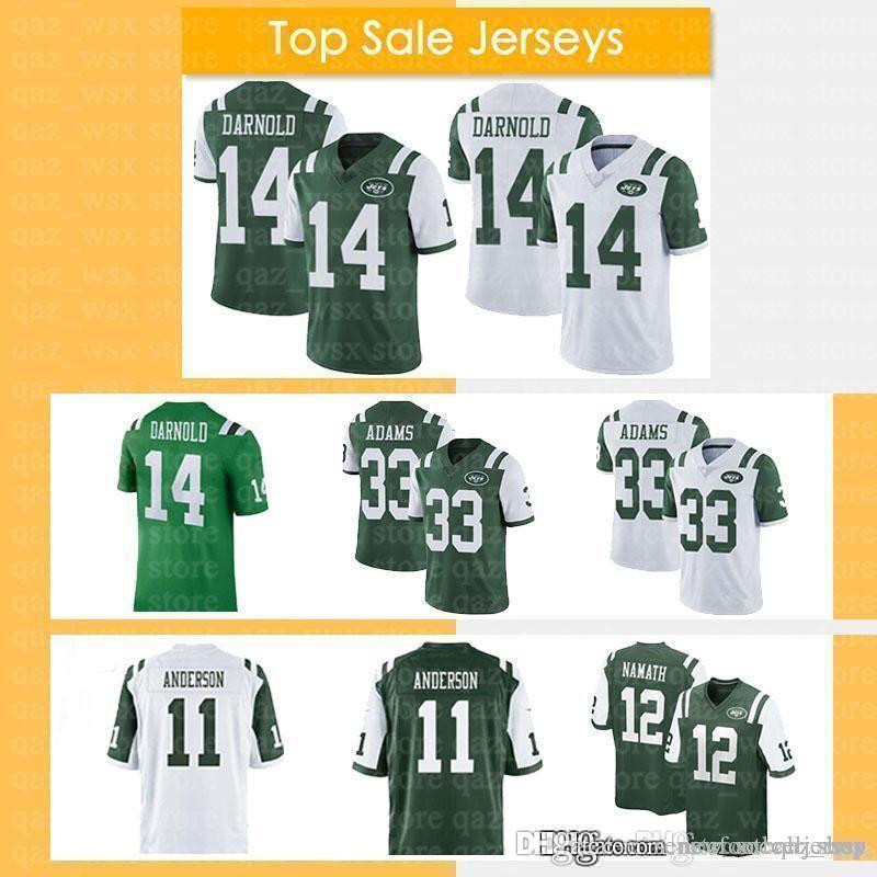 0f7f0983d6f 2019 14 Sam Darnold Jersey New York 18 19 Jets 11 Robby Anderson 33 Jamal  Adams 12 Joe Namath Embroidery Logos Men Football Jersey From  Seniorfootballjersey ...