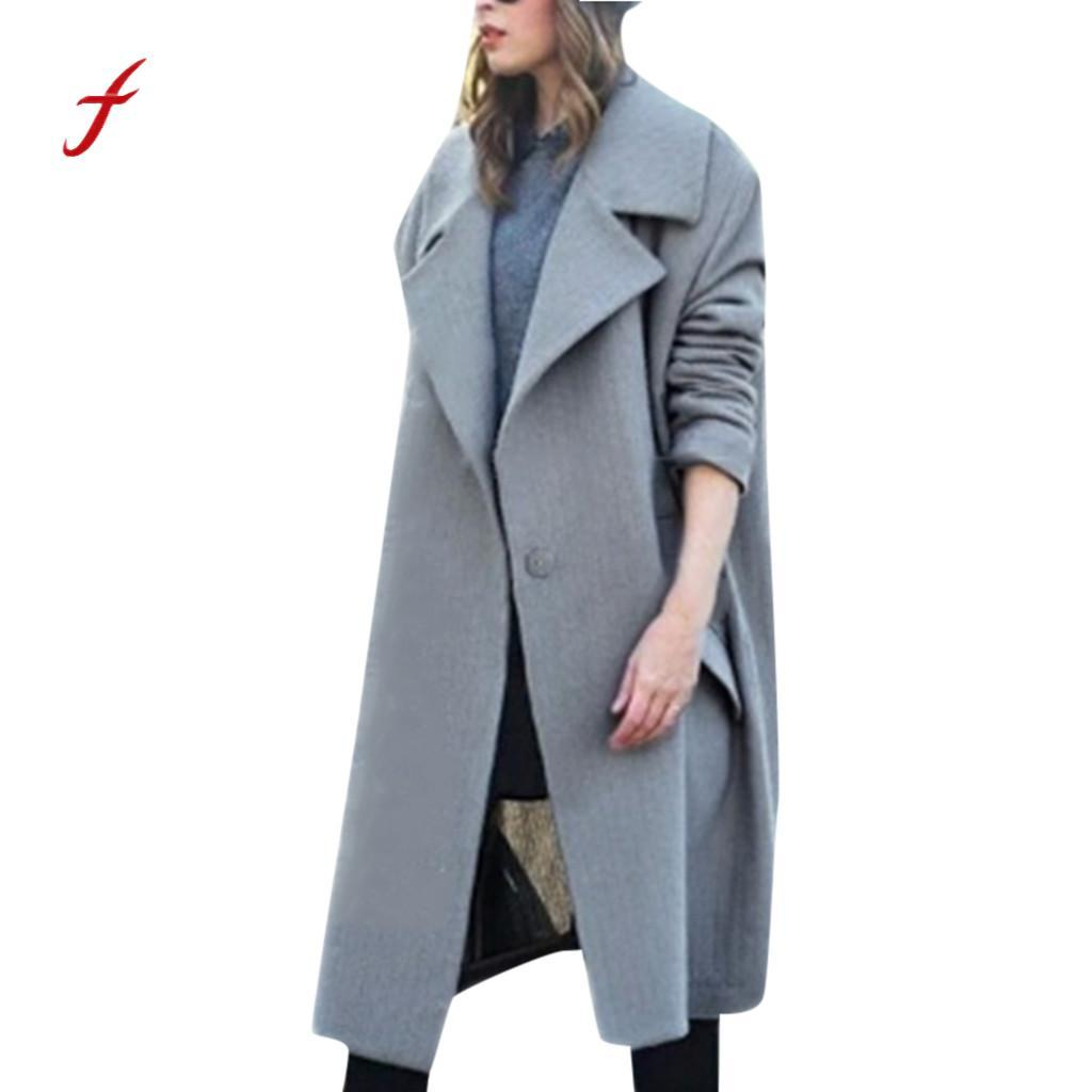 Inverno caldo bavero cappotto di lana donna Solid Button Cashmere Trench Jacket Ladies elegante allentato Plus soprabito Outwear Coat / PT