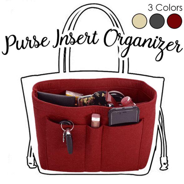 4cf9b4f190 Bag in Bag Felt Fabric Purse Handbag Organizer Insert Case Multi ...