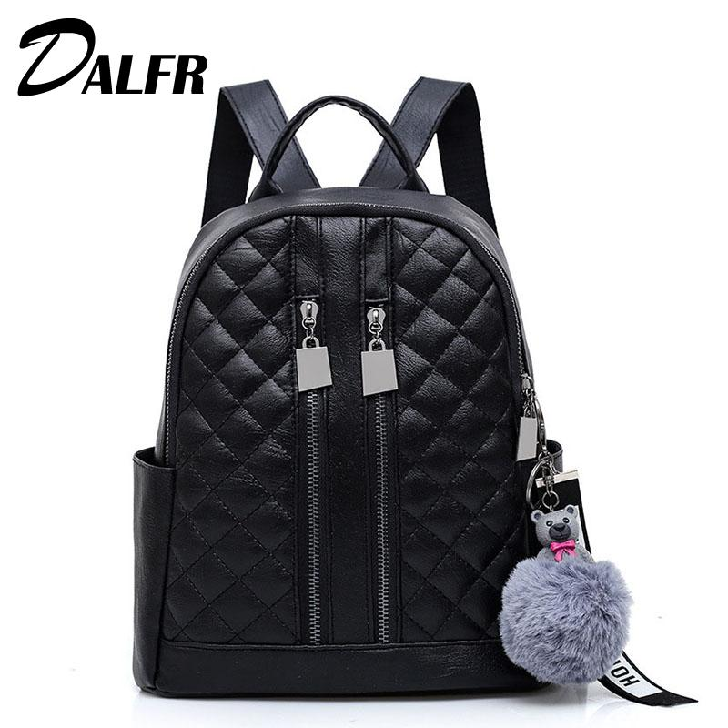 DALFR Casual Women Fashion Backpack Zipper College Style Girls Solid ... 1436ee8f02cc0