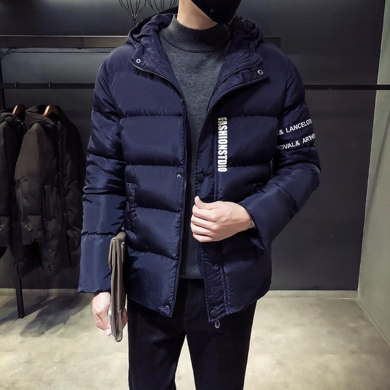 Fashion  Men Hooded Parka Winter Warm Men's Jacket Coat Man Short Thick Coats Male Padded Clothes Letter Printing