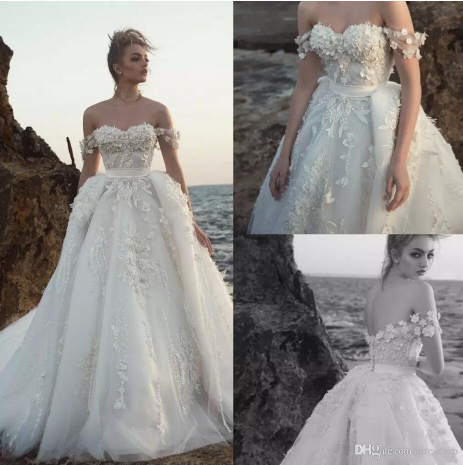 e55251ad045 Discount Berta Beach 2019 Off Shoulder Wedding Dresses With Detachable Train  Lace 3D Floral Appliques Beads Bridal Gowns Plus Size Robe De Mariée Bridal  ...