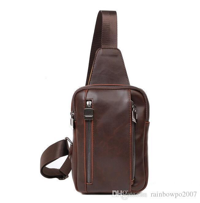 Brand Personality Male Package Simple Men Crazy Horse Leather Crossbody Bag Chest Mens Chest Shoulder Bag Sports New Cool Style Bag