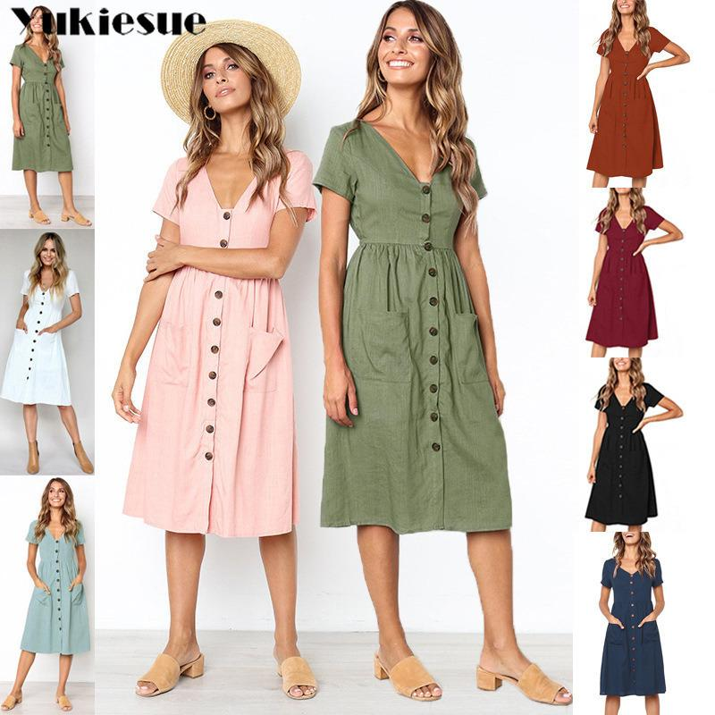 9a985ea8c03a Boho Summer Dress 2019 Women Dresses Women's Cotton Linen Vintage Beach  Party Club Sexy V Neck Bodycon Dress Female Plus Size Y19052803